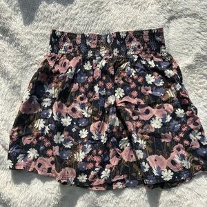 Frenchi Gray Blue and Soft Pink Floral Skirt